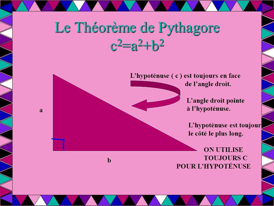 Le Théorème de Pythagore c 2 =a 2 +b 2 L'hypoténuse ( c ) est toujours en face de l'angle droit. L'angle droit pointe à l'hypoténuse. L'hypoténuse est
