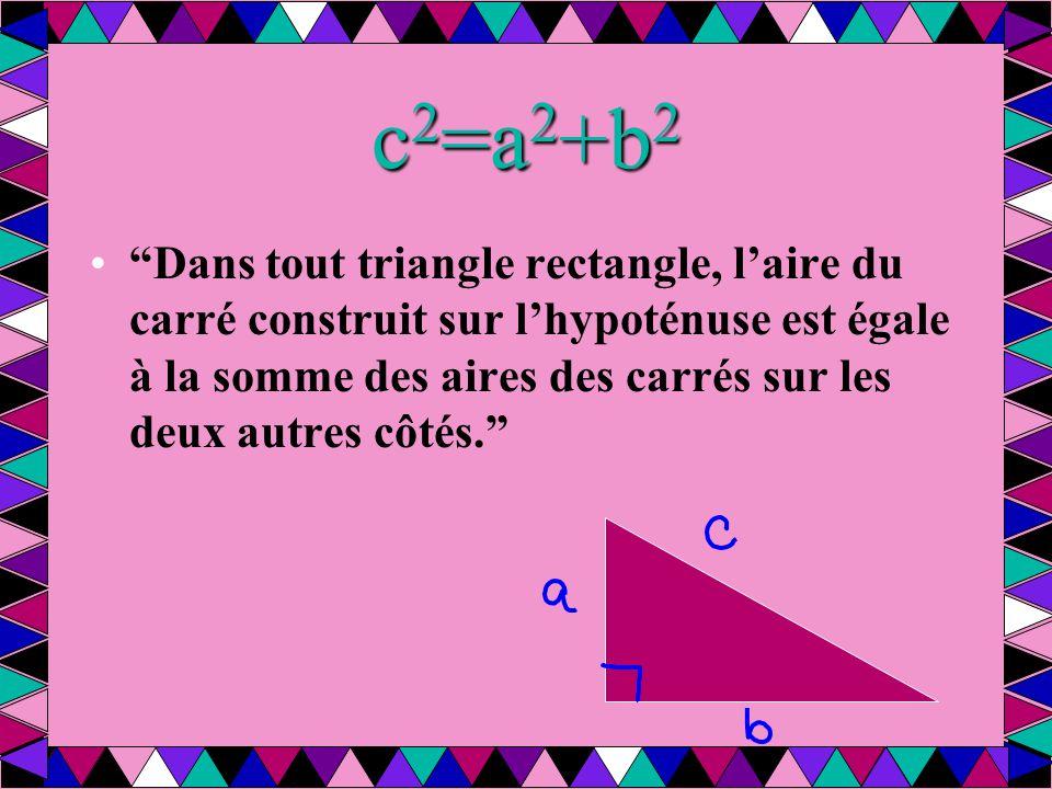 c 2 =a 2 +b 2 Dans tout triangle rectangle, l'aire du carré construit sur l'hypoténuse est égale à la somme des aires des carrés sur les deux autres côtés.