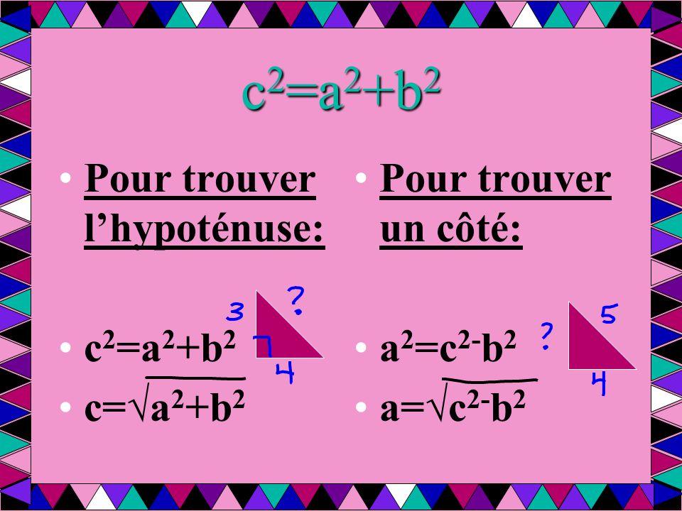 c 2 =a 2 +b 2 Pour trouver l'hypoténuse: c 2 =a 2 +b 2 c=√a 2 +b 2 Pour trouver un côté: a 2 =c 2- b 2 a=√c 2- b 2