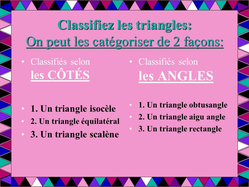Classifiez les triangles: On peut les catégoriser de 2 façons: Classifiés selon les CÔTÉS 1. Un triangle isocèle 2. Un triangle équilatéral 3. Un tria