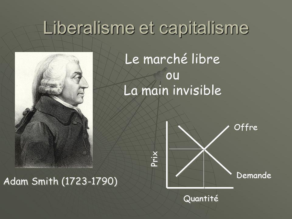 Liberalisme et capitalisme Prix Quantité Offre Demande Adam Smith (1723-1790) Le marché libre ou La main invisible Le marché libre ou La main invisible