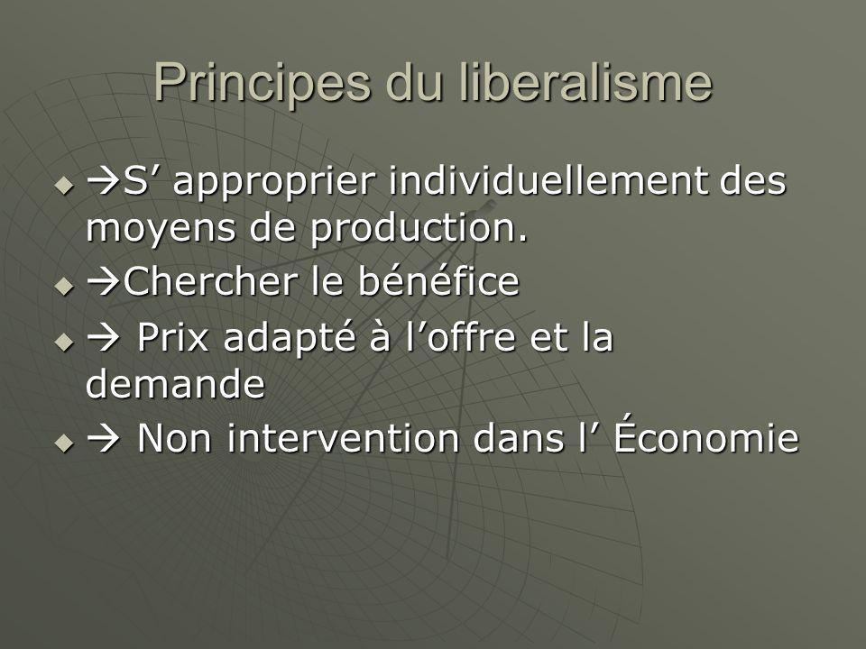 Principes du liberalisme   S' approprier individuellement des moyens de production.   Chercher le bénéfice   Prix adapté à l'offre et la demande