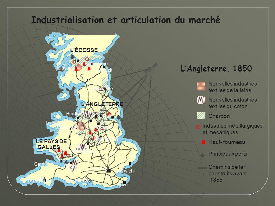 Industrialisation et articulation du marché L'Angleterre, 1850 Principaux ports Nouvelles industries textiles de la laine Nouvelles industries textile