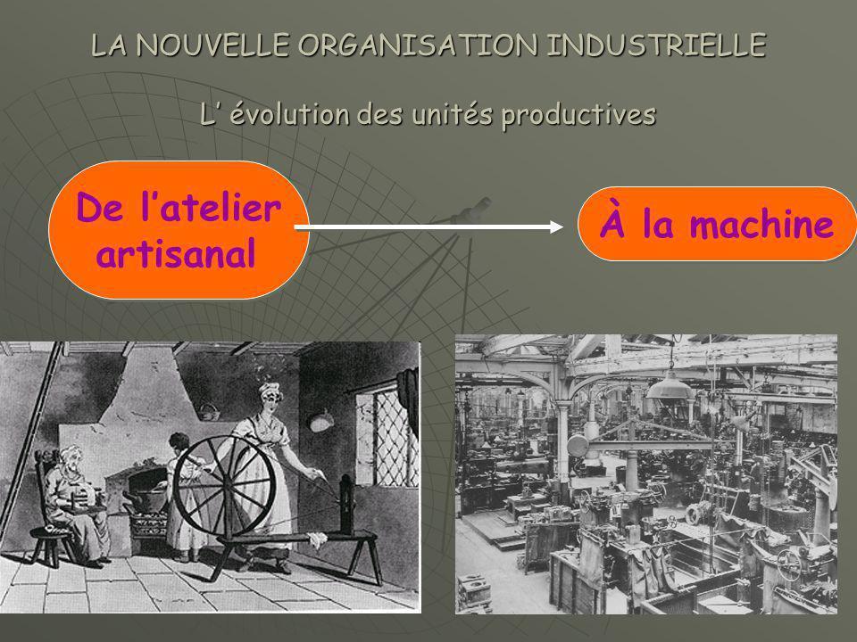 LA NOUVELLE ORGANISATION INDUSTRIELLE L' évolution des unités productives De l'atelier artisanal De l'atelier artisanal À la machine