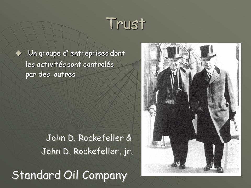 Trust  Un groupe d' entreprises dont les activités sont controlés les activités sont controlés par des autres par des autres Standard Oil Company John D.