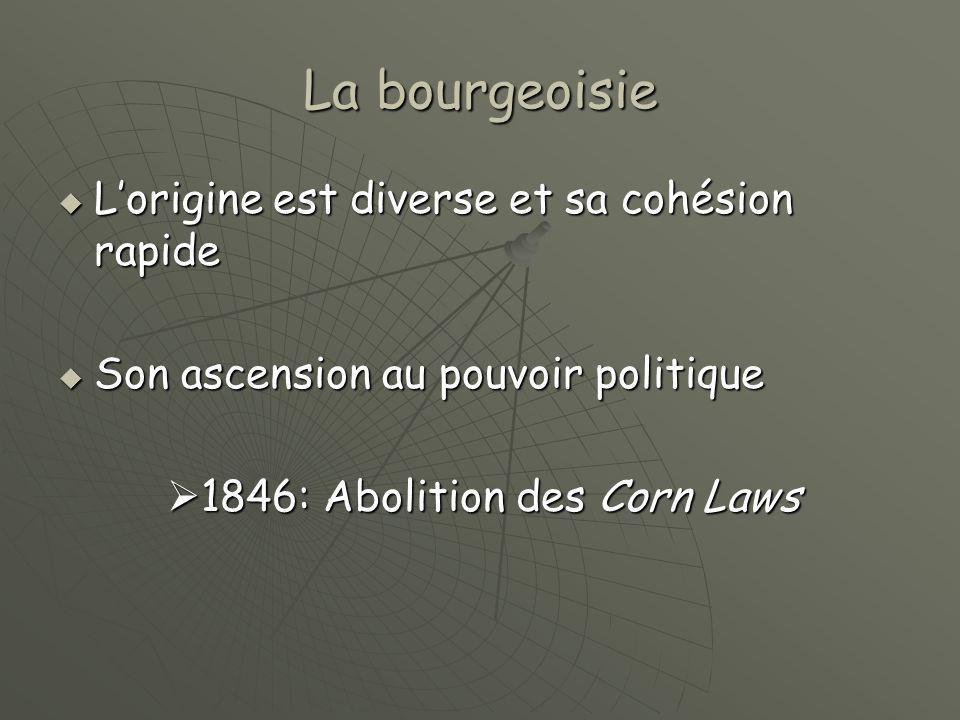 La bourgeoisie  L'origine est diverse et sa cohésion rapide  Son ascension au pouvoir politique  1846: Abolition des Corn Laws  1846: Abolition de