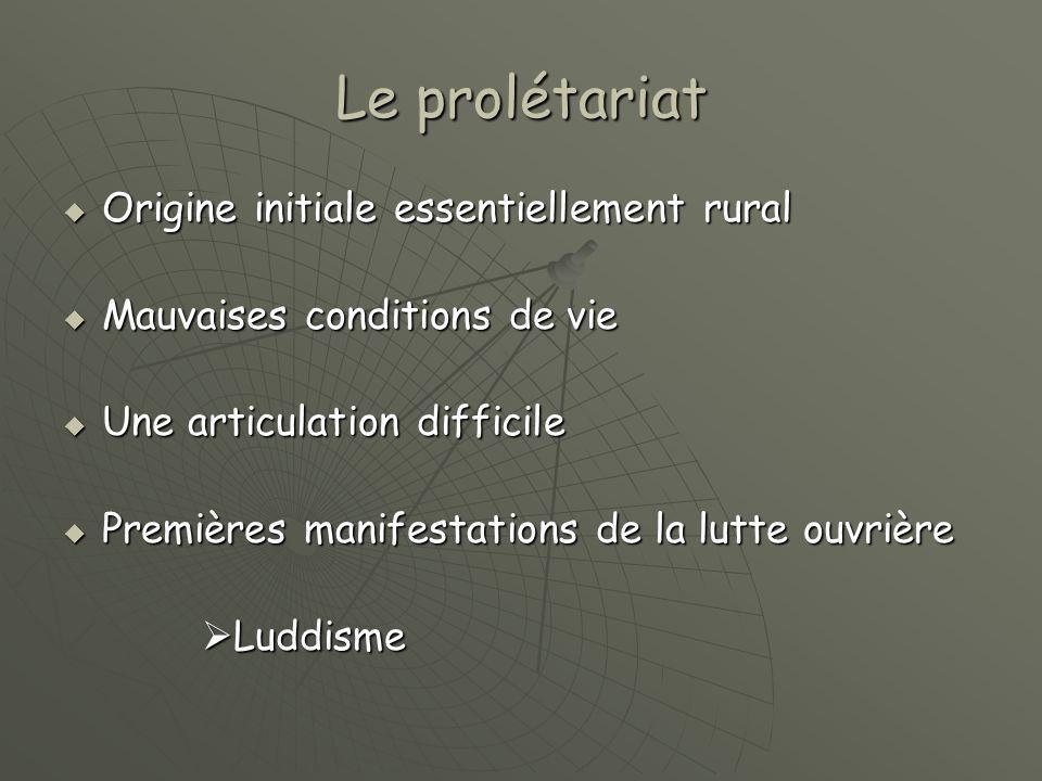 Le prolétariat  Origine initiale essentiellement rural  Mauvaises conditions de vie  Une articulation difficile  Premières manifestations de la lutte ouvrière  Luddisme  Luddisme