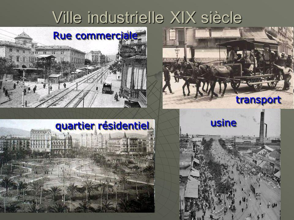Ville industrielle XIX siècle usineusine transporttransport quartier résidentiel Rue commerciale
