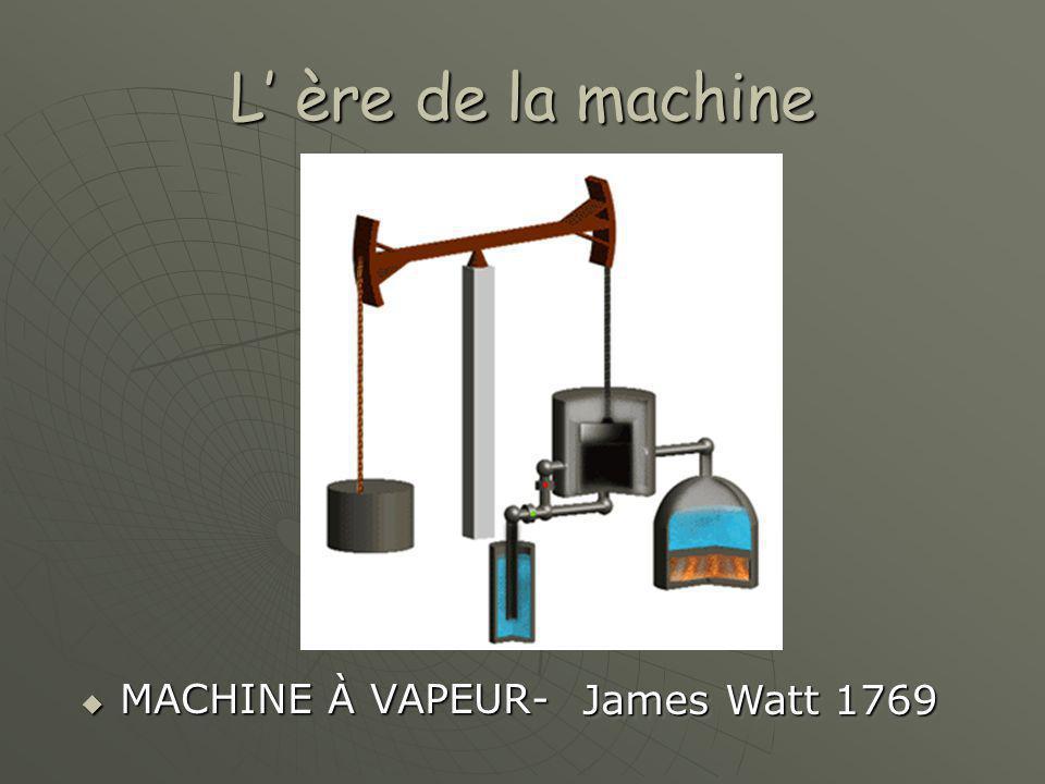 L' ère de la machine  MACHINE À VAPEUR- James Watt 1769