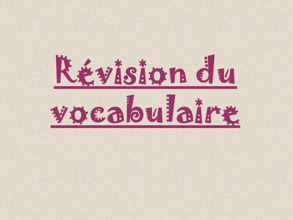 Révision du vocabulaire