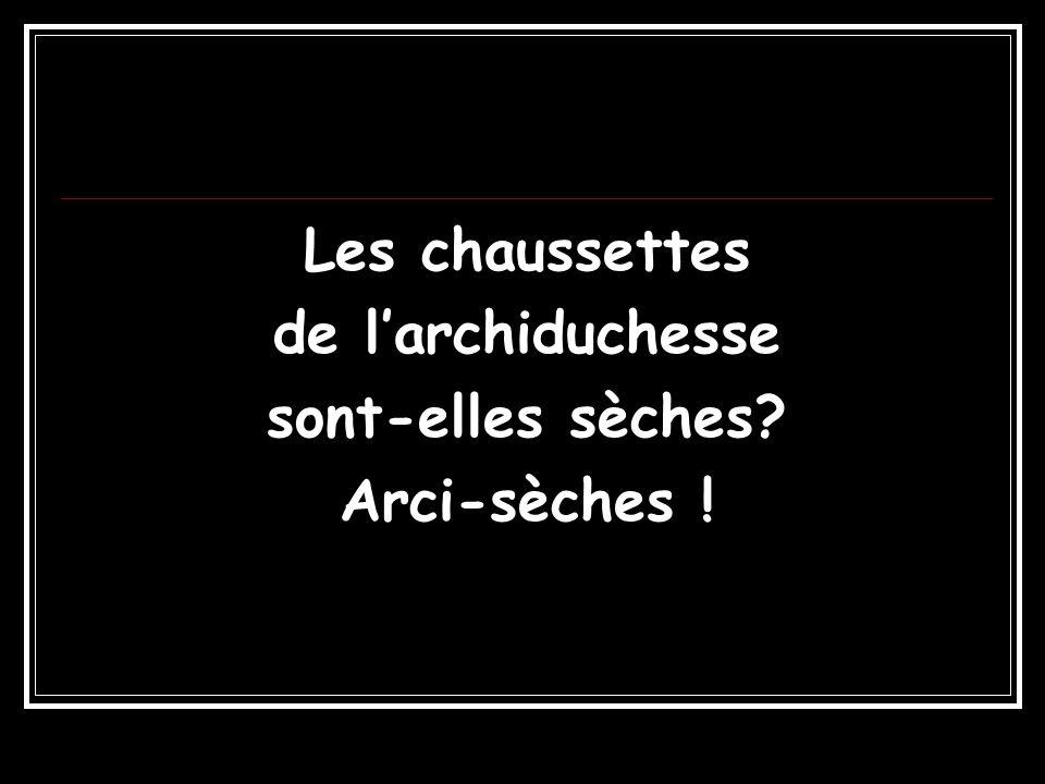 Les chaussettes de l'archiduchesse sont-elles sèches Arci-sèches !
