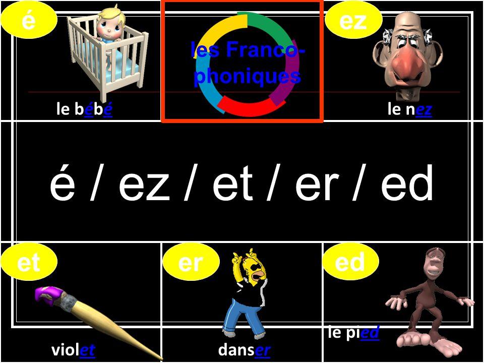é / ez / et / er / ed violetdanser le pied le bébéle nez éez eter ed les Franco- phoniques