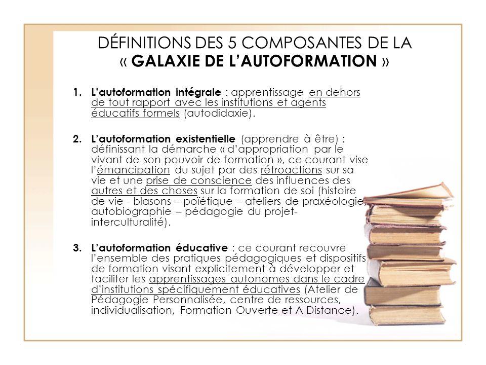 DÉFINITIONS DES 5 COMPOSANTES DE LA « GALAXIE DE L'AUTOFORMATION » 1.L'autoformation intégrale : apprentissage en dehors de tout rapport avec les inst