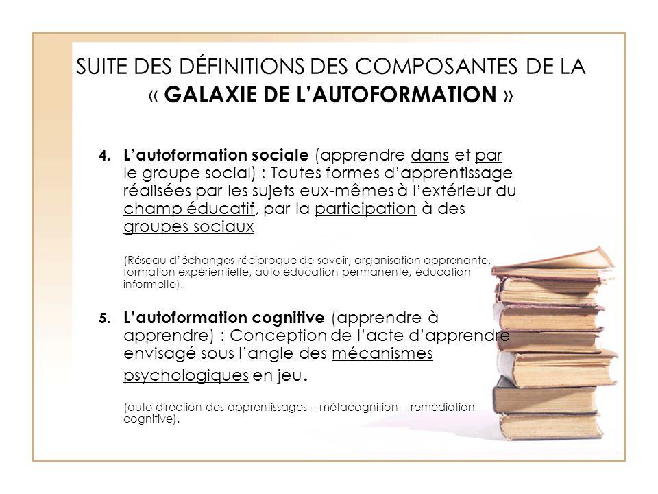 SUITE DES DÉFINITIONS DES COMPOSANTES DE LA « GALAXIE DE L'AUTOFORMATION » 4. L'autoformation sociale (apprendre dans et par le groupe social) : Toute