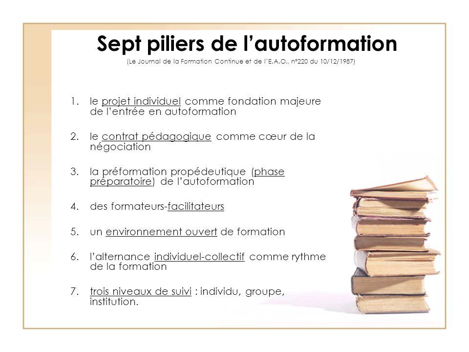 Sept piliers de l'autoformation (Le Journal de la Formation Continue et de l'E.A.O., n°220 du 10/12/1987) 1.le projet individuel comme fondation majeu