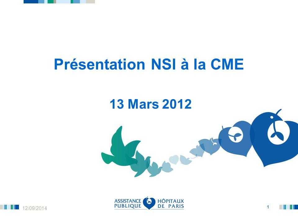 1 12/09/2014 Présentation NSI à la CME 13 Mars 2012