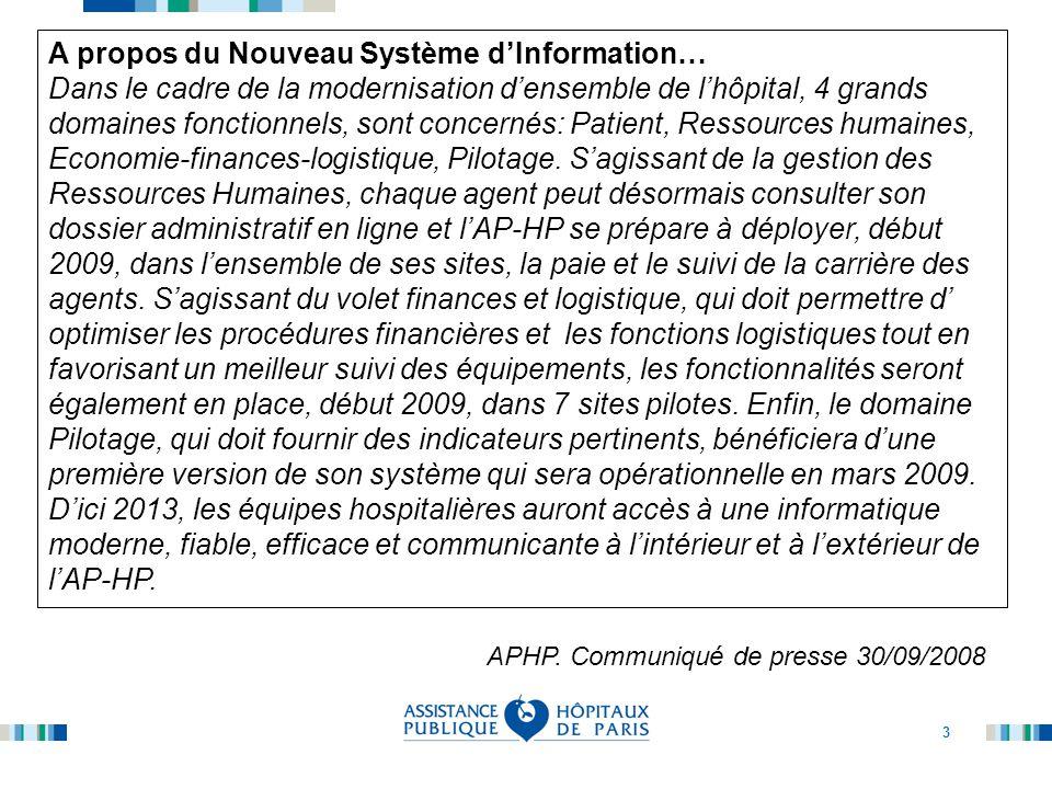 3 A propos du Nouveau Système d'Information… Dans le cadre de la modernisation d'ensemble de l'hôpital, 4 grands domaines fonctionnels, sont concernés