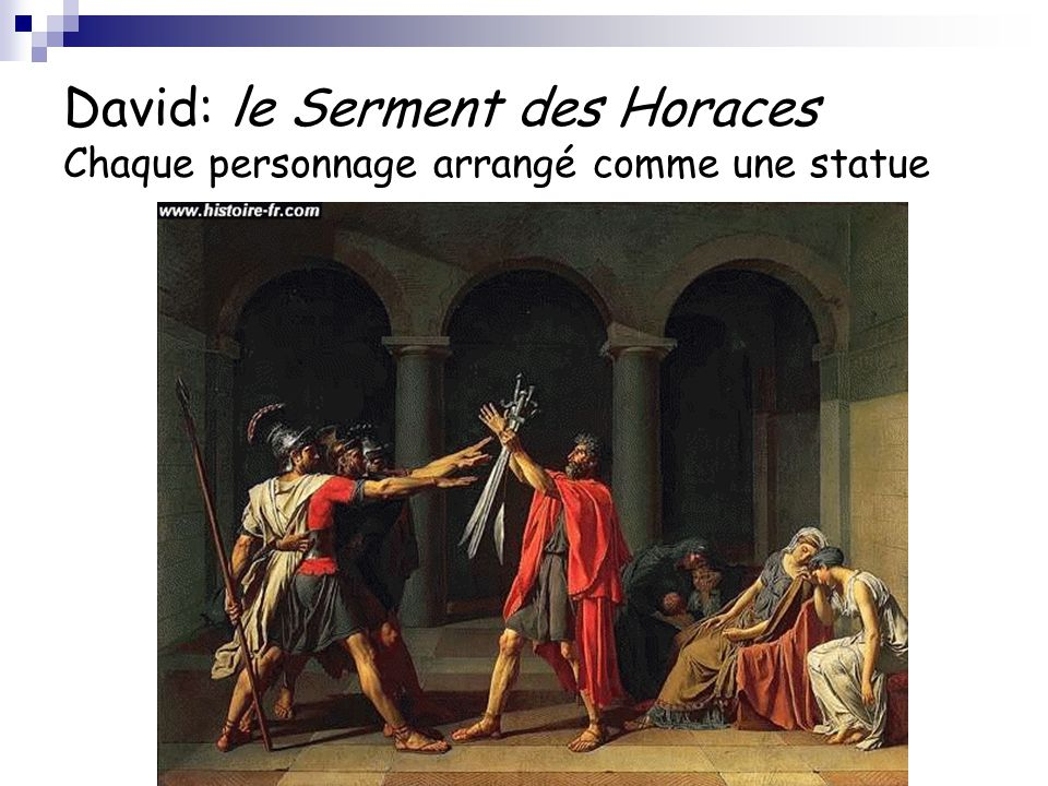 David: le Serment des Horaces Chaque personnage arrangé comme une statue