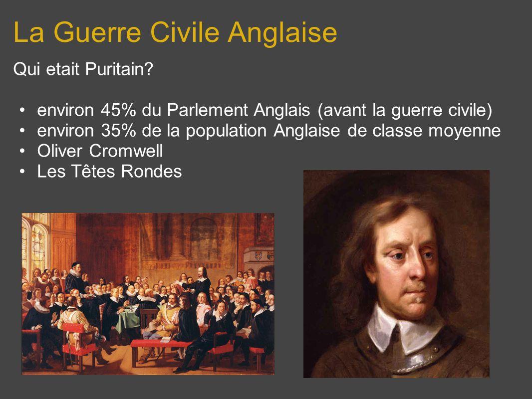 La Guerre Civile Anglaise Qui etait Puritain? environ 45% du Parlement Anglais (avant la guerre civile) environ 35% de la population Anglaise de class