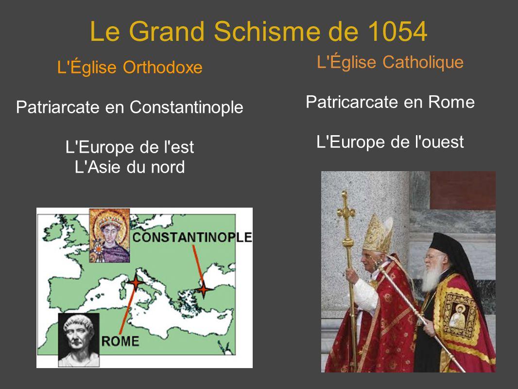 Le Grand Schisme de 1054 L'Église Orthodoxe Patriarcate en Constantinople L'Europe de l'est L'Asie du nord L'Église Catholique Patricarcate en Rome L'
