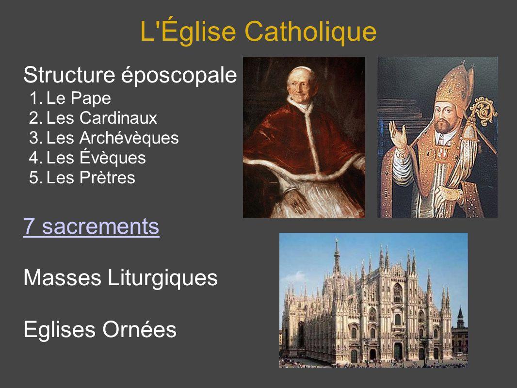 L'Église Catholique Structure époscopale 1.Le Pape 2.Les Cardinaux 3.Les Archévèques 4.Les Évèques 5.Les Prètres 7 sacrements Masses Liturgiques Eglis