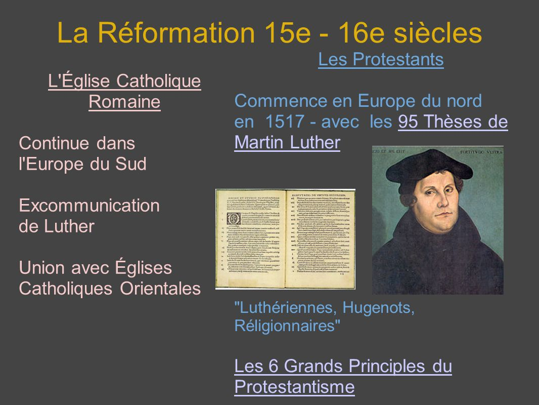 La Réformation 15e - 16e siècles L'Église Catholique Romaine Continue dans l'Europe du Sud Excommunication de Luther Union avec Églises Catholiques Or