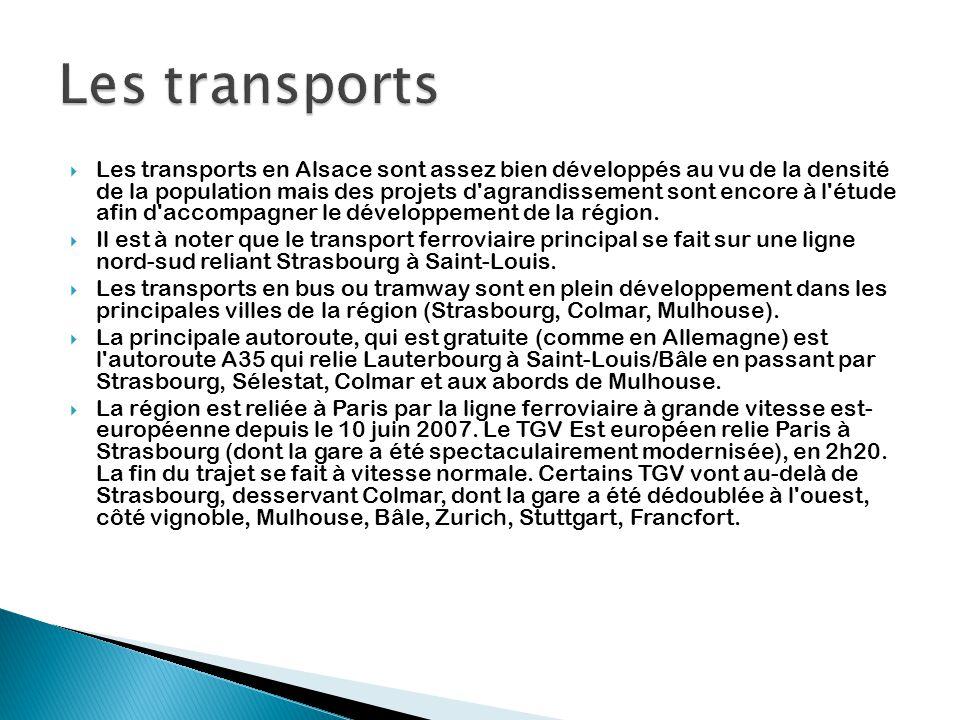  Les transports en Alsace sont assez bien développés au vu de la densité de la population mais des projets d'agrandissement sont encore à l'étude afi