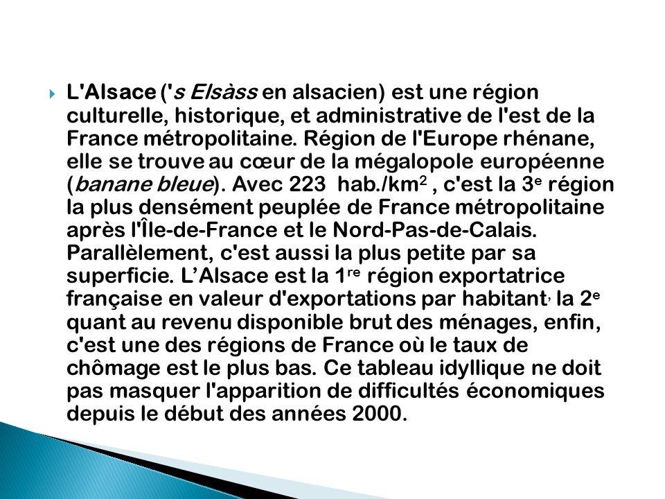  L'Alsace ('s Elsàss en alsacien) est une région culturelle, historique, et administrative de l'est de la France métropolitaine. Région de l'Europe r