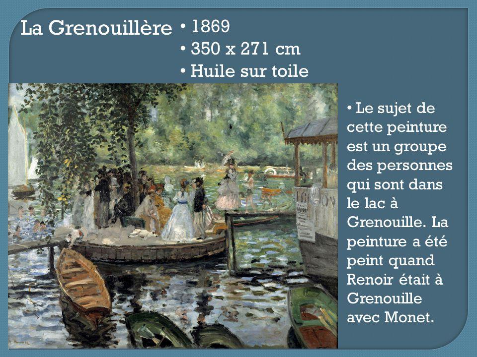 La Grenouillère 1869 350 x 271 cm Huile sur toile Le sujet de cette peinture est un groupe des personnes qui sont dans le lac à Grenouille. La peintur