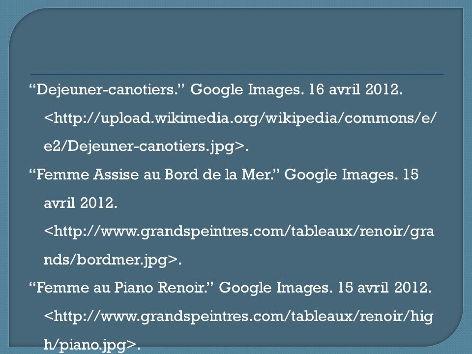 Dejeuner-canotiers. Google Images.16 avril 2012..