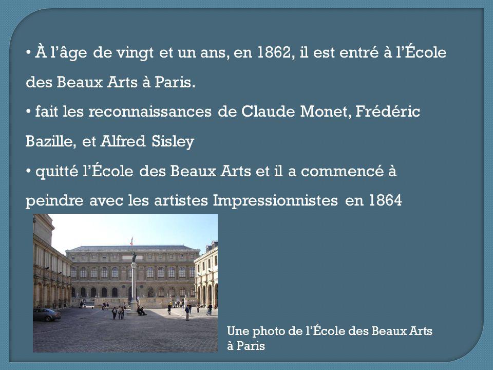 À l'âge de vingt et un ans, en 1862, il est entré à l'École des Beaux Arts à Paris. fait les reconnaissances de Claude Monet, Frédéric Bazille, et Alf