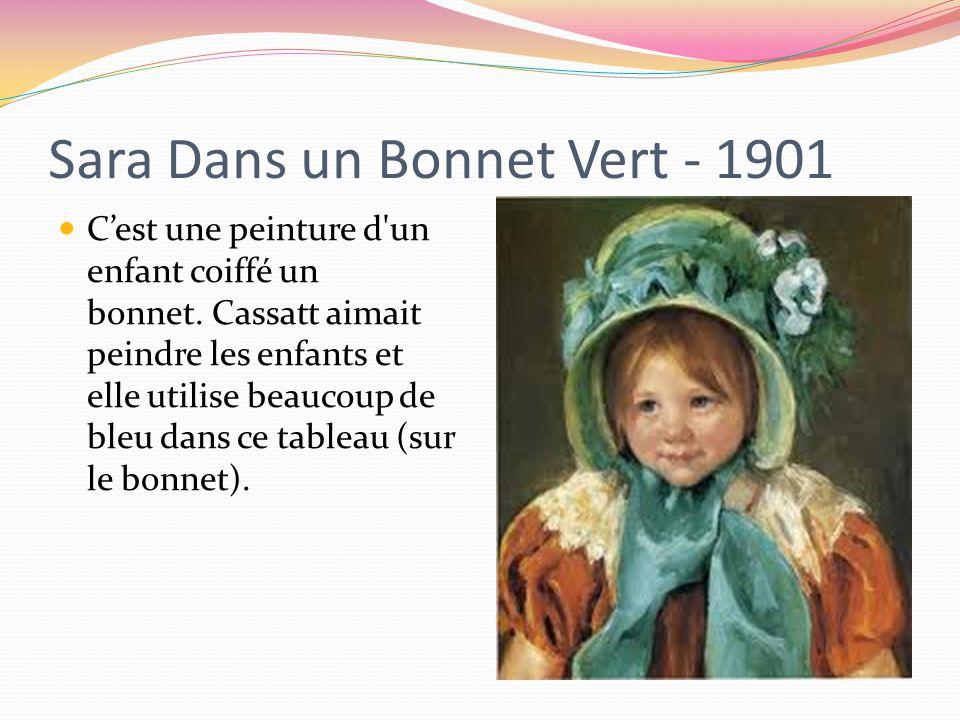 Sara Dans un Bonnet Vert - 1901 C'est une peinture d un enfant coiffé un bonnet.