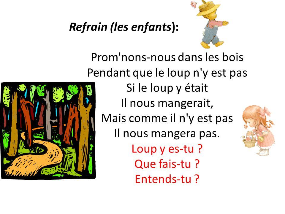 Refrain (les enfants): Prom'nons-nous dans les bois Pendant que le loup n'y est pas Si le loup y était Il nous mangerait, Mais comme il n'y est pas Il
