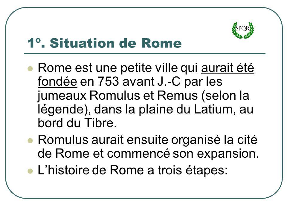 1º. Situation de Rome Rome est une petite ville qui aurait été fondée en 753 avant J.-C par les jumeaux Romulus et Remus (selon la légende), dans la p