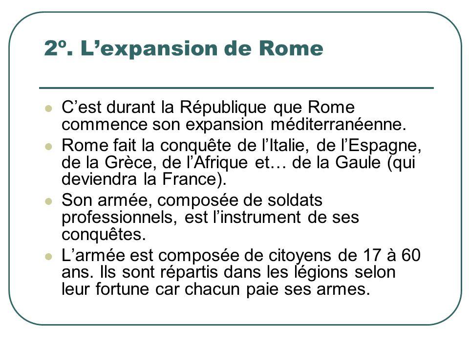 2º. L'expansion de Rome C'est durant la République que Rome commence son expansion méditerranéenne. Rome fait la conquête de l'Italie, de l'Espagne, d