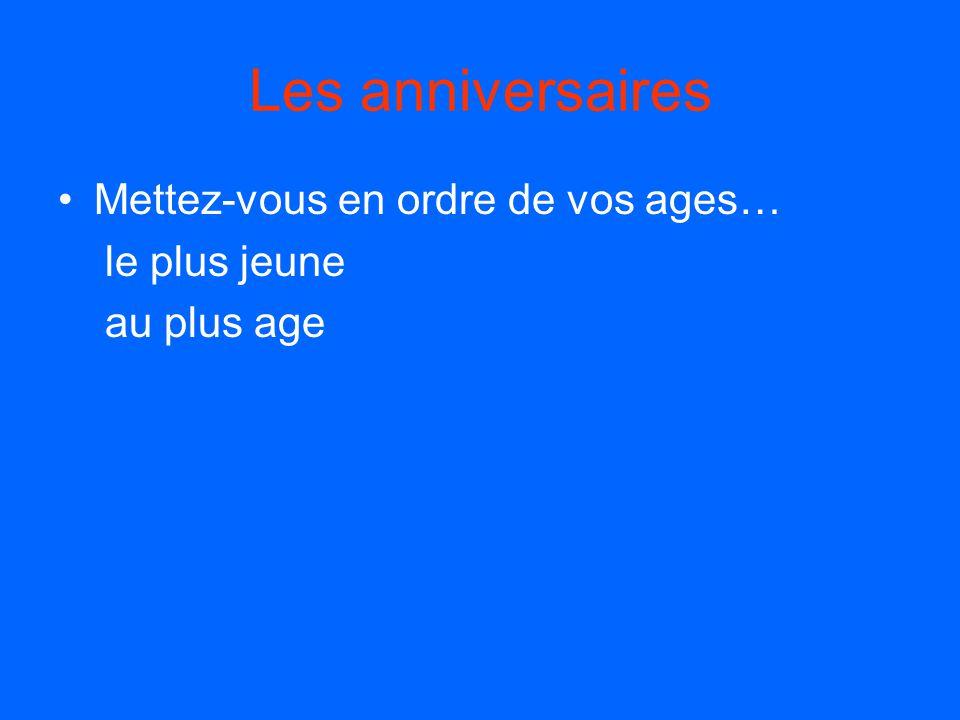 Les anniversaires (en part) Quand est ton anniversaire… Mon anniversaire est le ___ _____. Quel age as-tu? J'ai ___ ans.