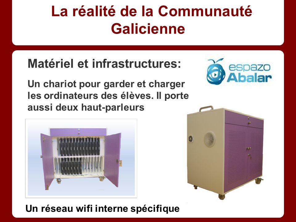 La réalité de la Communauté Galicienne Matériel et infrastructures: Un chariot pour garder et charger les ordinateurs des élèves.