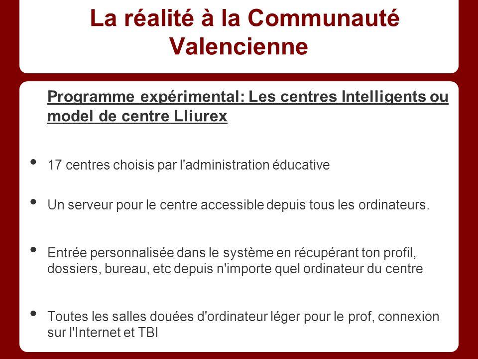La réalité à la Communauté Valencienne Programme expérimental: Les centres Intelligents ou model de centre Lliurex 17 centres choisis par l administration éducative Un serveur pour le centre accessible depuis tous les ordinateurs.