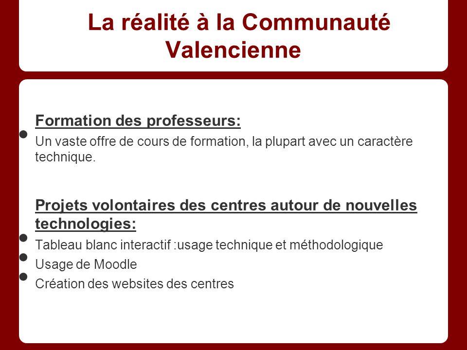 La réalité à la Communauté Valencienne Formation des professeurs: Un vaste offre de cours de formation, la plupart avec un caractère technique.