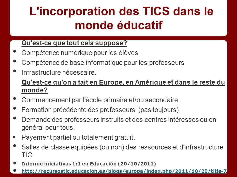 L incorporation des TICS dans le monde éducatif Qu est-ce que tout cela suppose.
