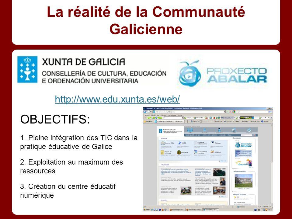 La réalité de la Communauté Galicienne http://www.edu.xunta.es/web/ OBJECTIFS: 1.