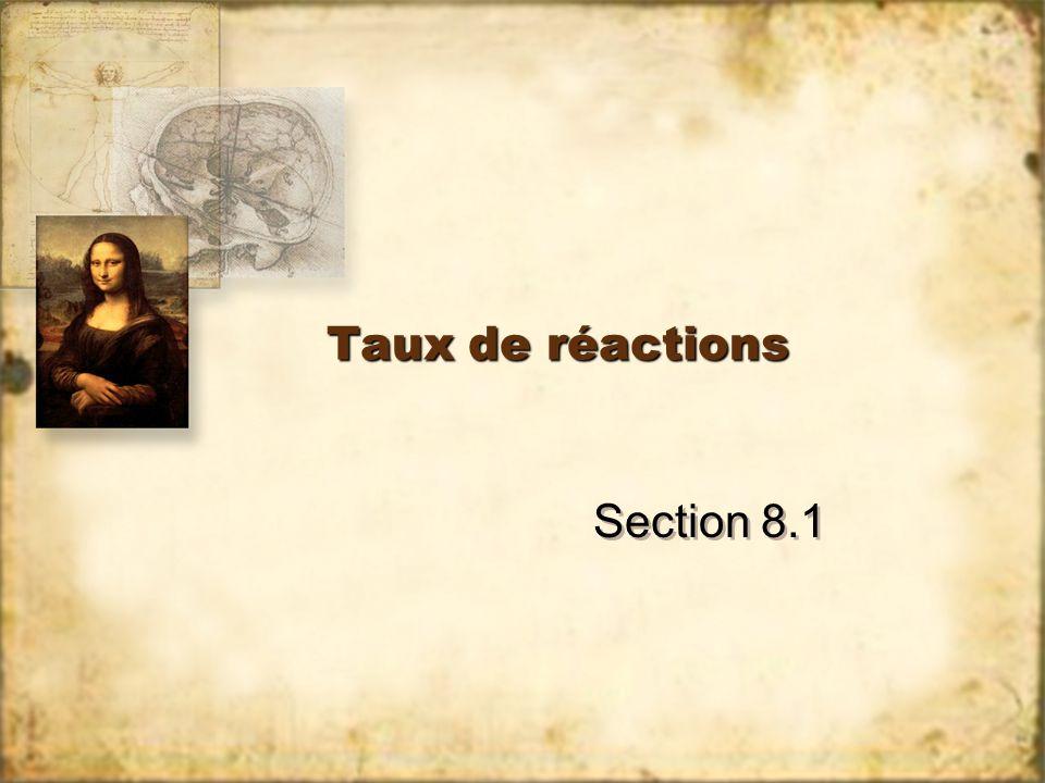 Taux de réactions Section 8.1