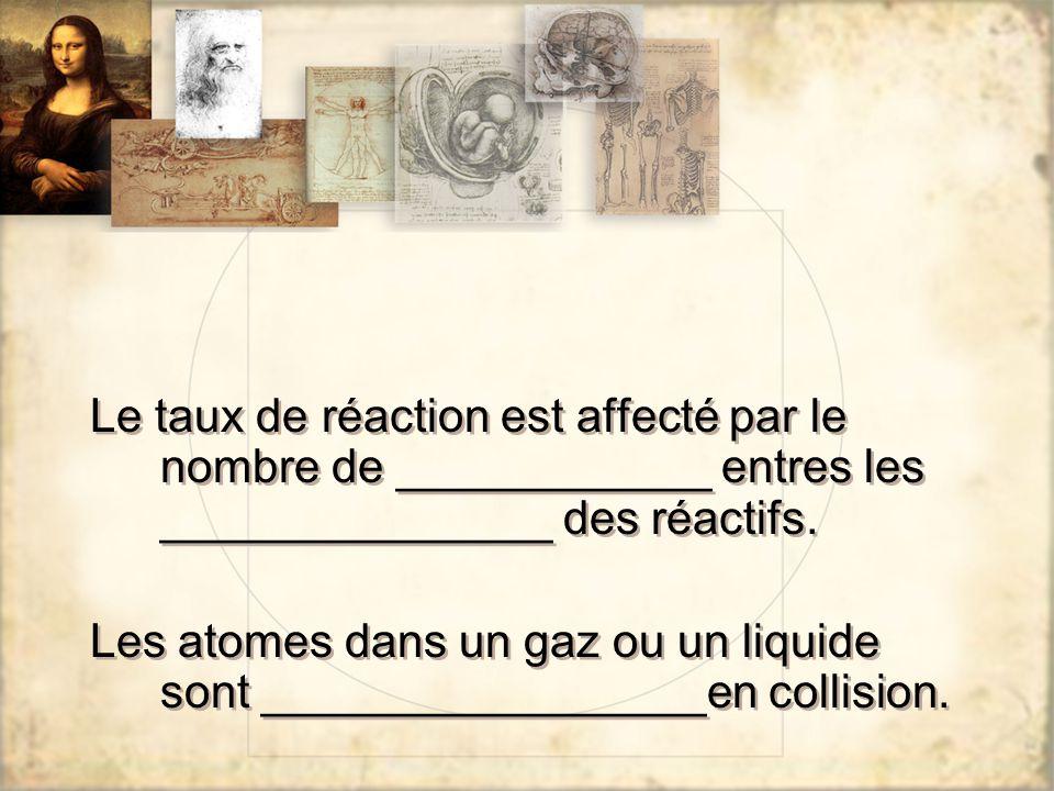 Le taux de réaction est affecté par le nombre de ____________ entres les _______________ des réactifs.