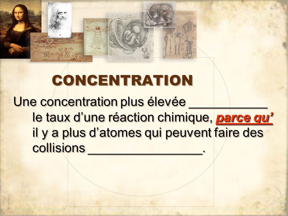CONCENTRATION parce qu' Une concentration plus élevée ___________ le taux d'une réaction chimique, parce qu' il y a plus d'atomes qui peuvent faire des collisions ________________.
