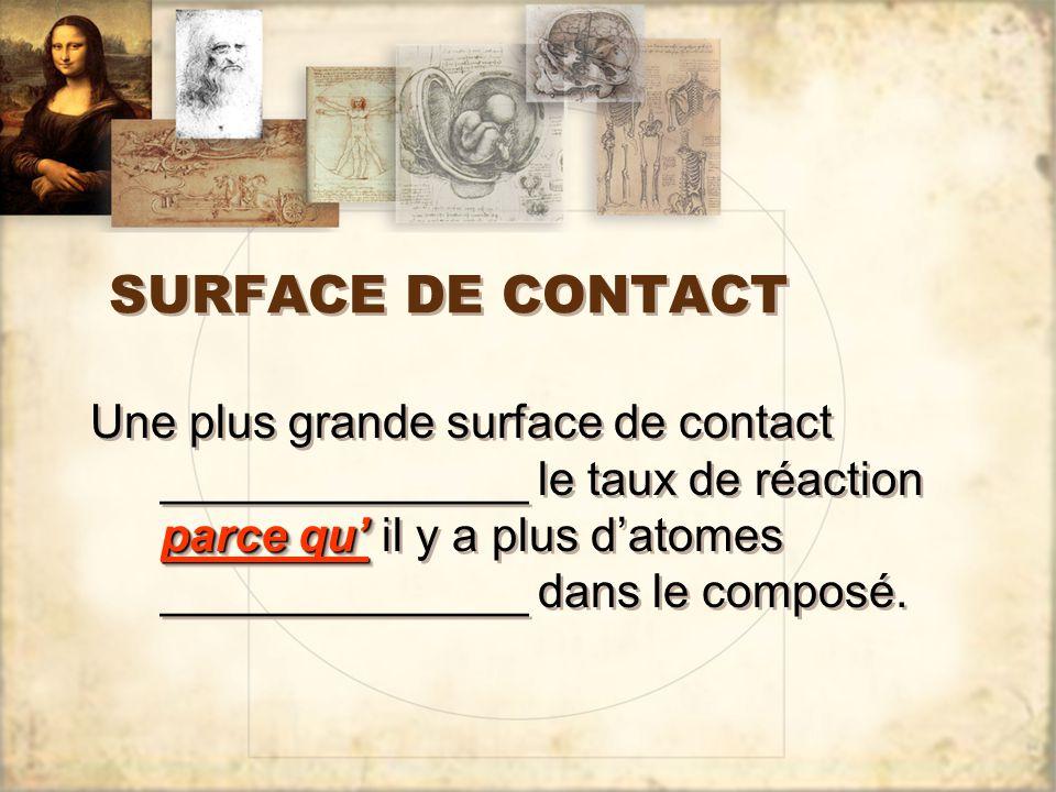 SURFACE DE CONTACT parce qu' Une plus grande surface de contact ______________ le taux de réaction parce qu' il y a plus d'atomes ______________ dans le composé.