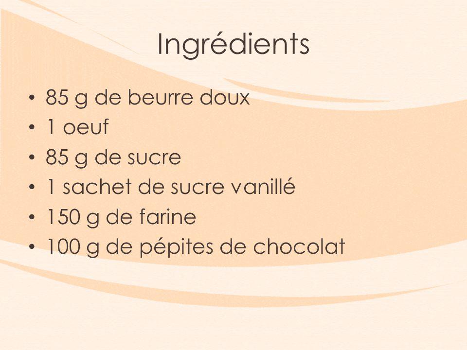 Ingrédients 85 g de beurre doux 1 oeuf 85 g de sucre 1 sachet de sucre vanillé 150 g de farine 100 g de pépites de chocolat