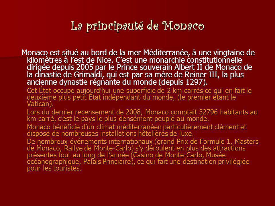La principauté de Monaco Monaco est situé au bord de la mer Méditerranée, à une vingtaine de kilomètres à l'est de Nice. C'est une monarchie constitut