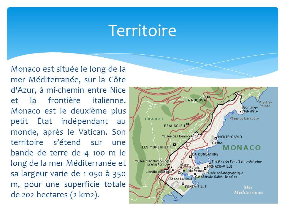 Monaco est située le long de la mer Méditerranée, sur la Côte d'Azur, à mi-chemin entre Nice et la frontière italienne. Monaco est le deuxième plus pe
