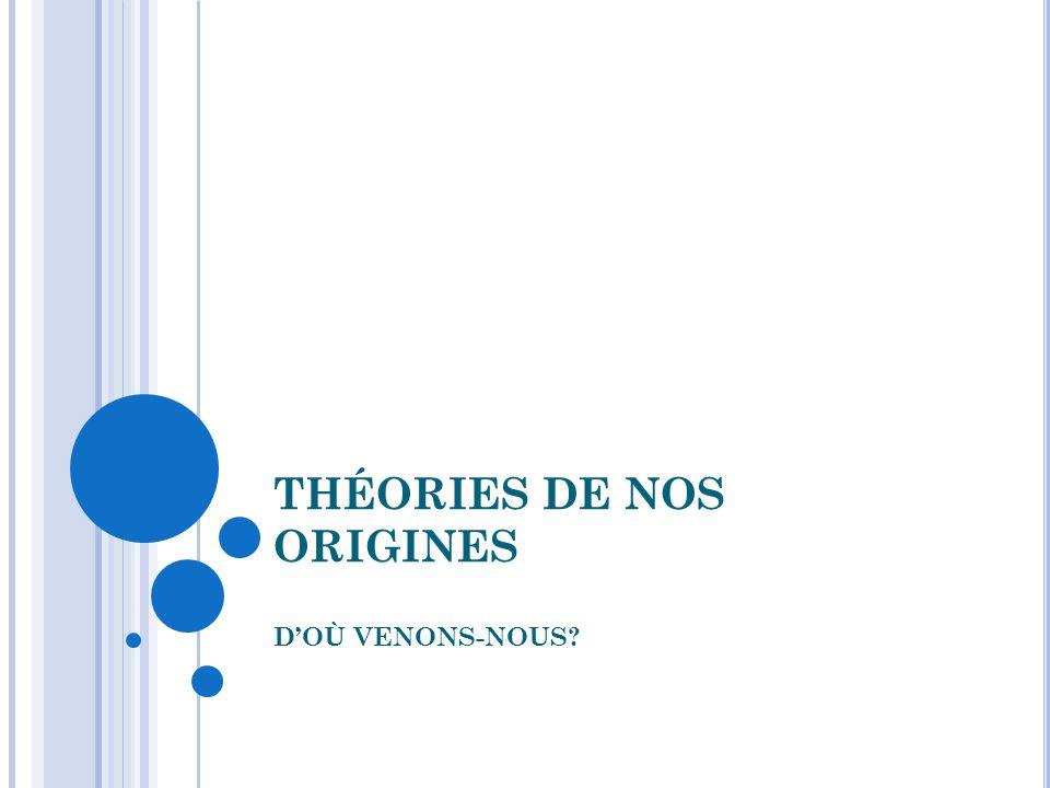 THÉORIES DE NOS ORIGINES D'OÙ VENONS-NOUS?