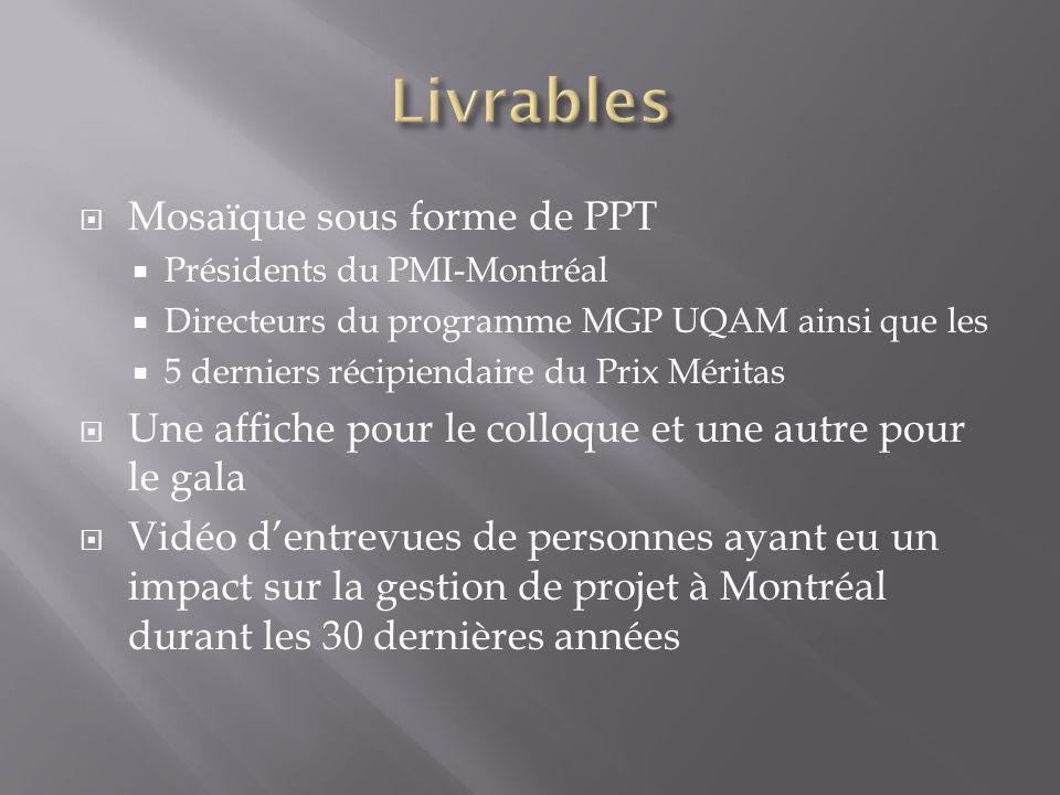  Mosaïque sous forme de PPT  Présidents du PMI-Montréal  Directeurs du programme MGP UQAM ainsi que les  5 derniers récipiendaire du Prix Méritas  Une affiche pour le colloque et une autre pour le gala  Vidéo d'entrevues de personnes ayant eu un impact sur la gestion de projet à Montréal durant les 30 dernières années